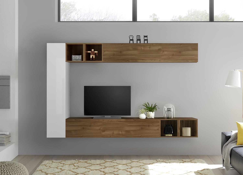 meuble tv mural blanc et bois pour salon