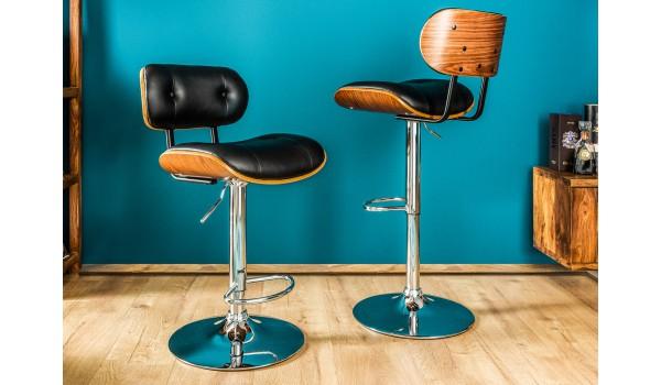 Chaise de bar avec dossier & pied chromé