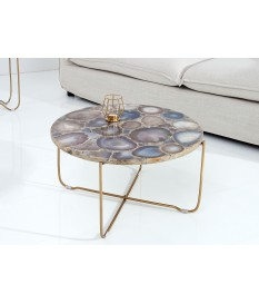 Table basse ronde en pierre d'agate