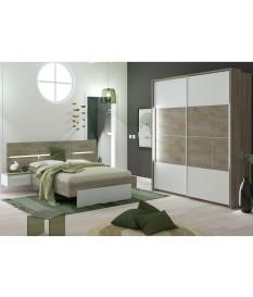 Chambre complète laqué blanche mat et décor Oak endgrain