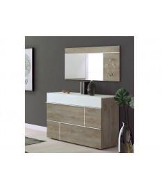 Commode de rangement 3 tiroirs blanche et bois