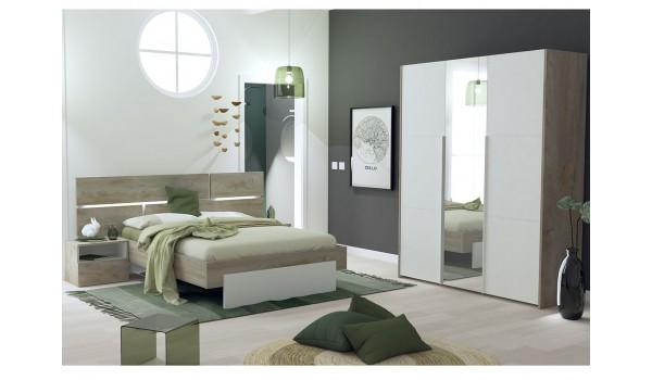 Lit + chevet + armoire 3 portes