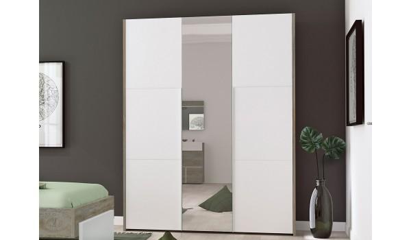 Armoire penderie rangement 3 portes et miroir