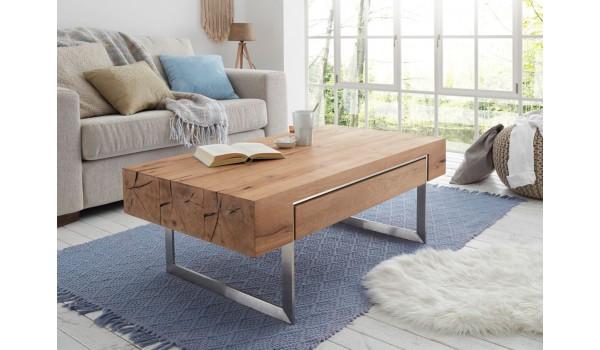 Table basse rectangulaire en bois plaqué chêne huilé