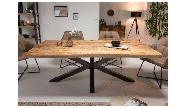 Table 200 cm en bois massif et pied métal noir design