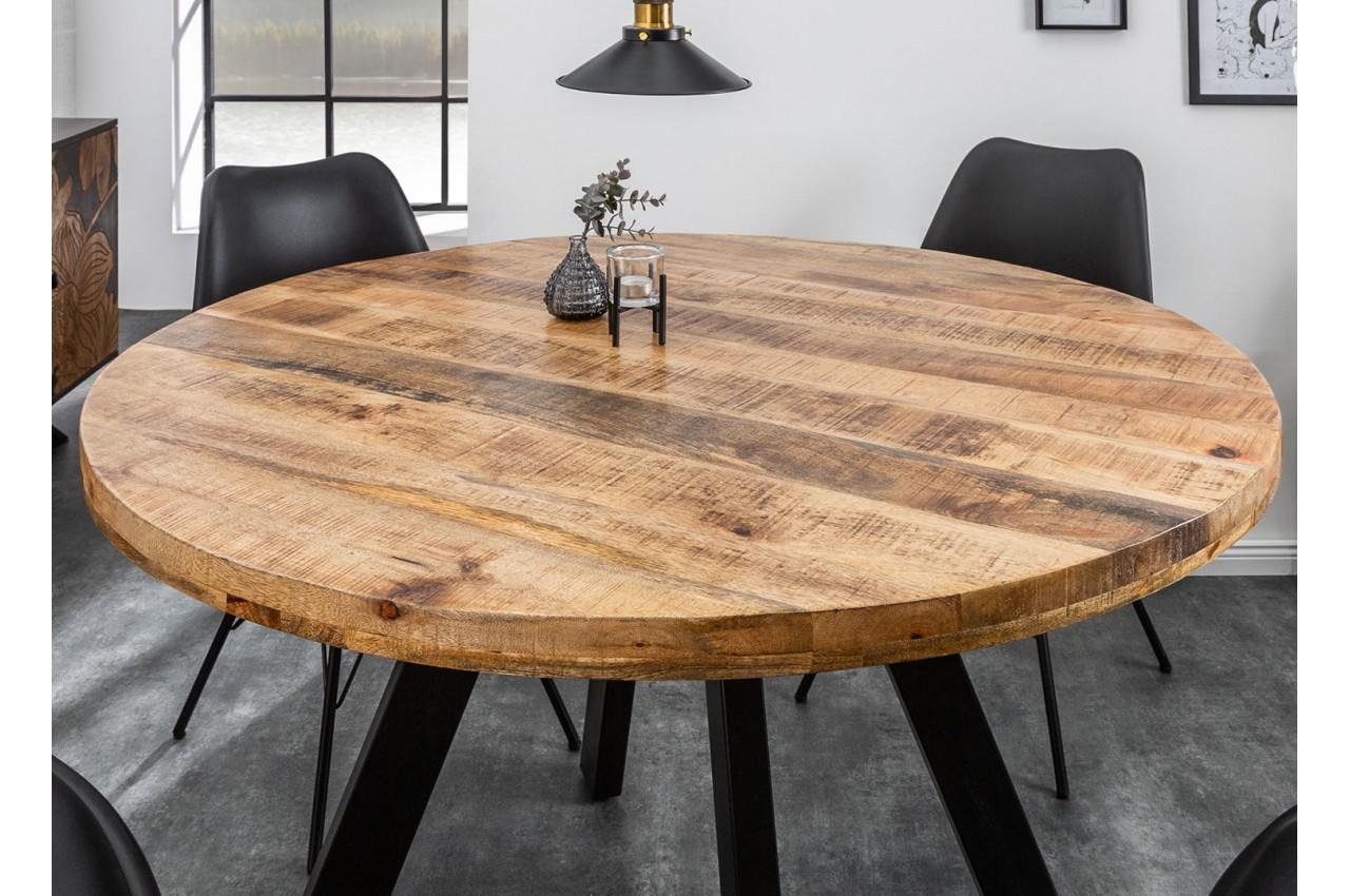 Table ronde en bois massif de manguier et pied m tal pour - Table de salle a manger en bois massif ...