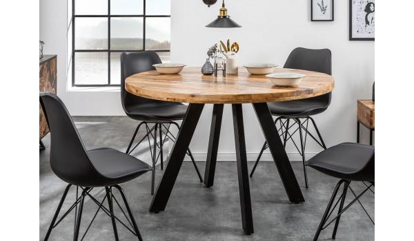 Table ronde en bois massif de manguier et pied métal