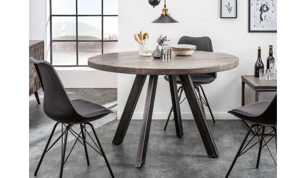 Table ronde en bois de manguier grisé et pied métal