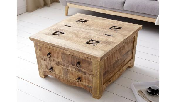 Table carrée en bois de manguier original