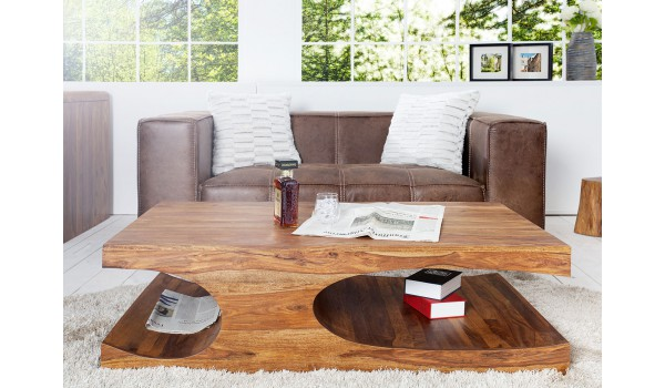 Table basse design en bois de Sesham 120 cm