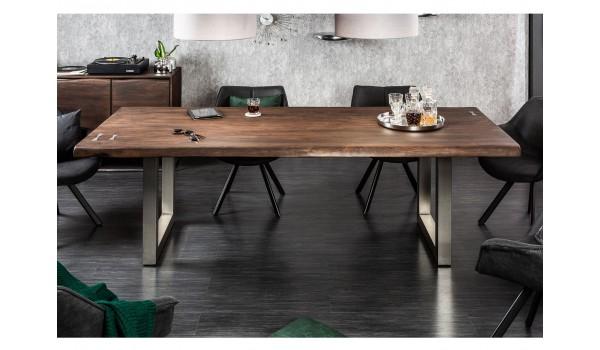 Table de salle à manger 2m piétement en acier brossé