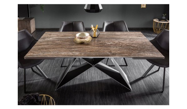 Table contemporaine en céramique - Pied métal noir design