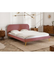 Lit adulte 140x200 en velours rose