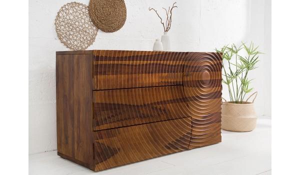 Buffet design en bois massif - Façade sculptée