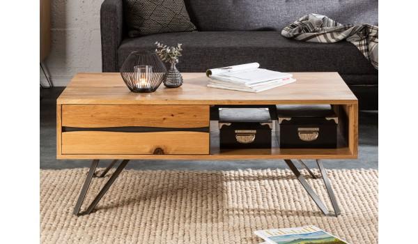 Table basse de salon en bois massif rectangulaire