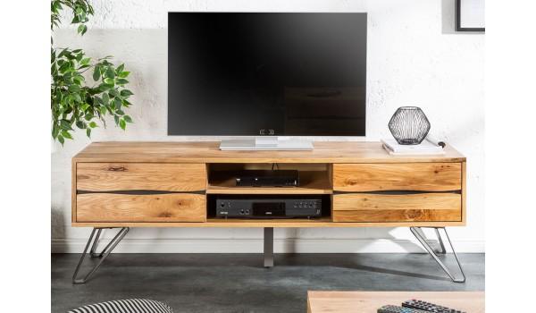 Meuble TV en bois et métal industriel 160 cm