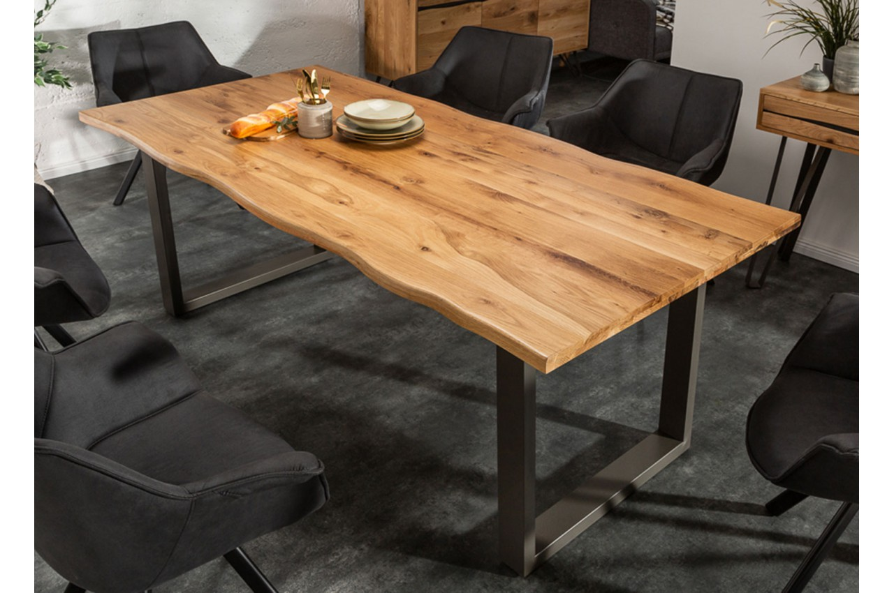 Table Séjour / salle à manger acier et bois industriel 12 cm pour ...