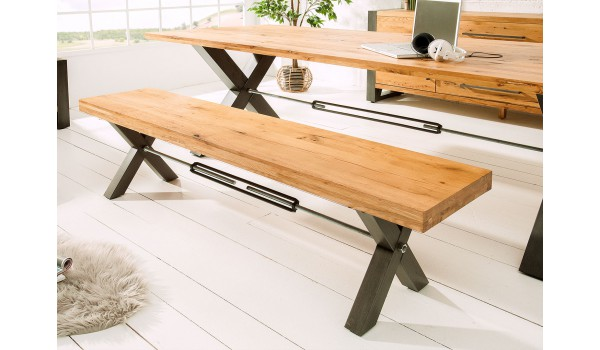 Banc en bois et métal look industriel 180 cm
