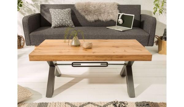 Table basse en bois et métal look industriel 110 cm