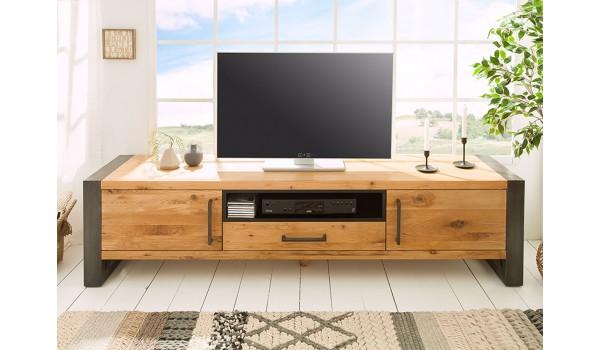 meuble tv bois et metal look industriel 200 cm