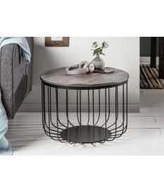 Table basse ronde - Bois grisé et métal