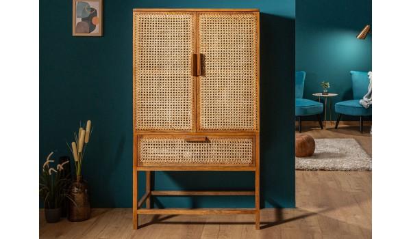 Buffet haut en bambou tressé - 2 portes / 1 Tiroir