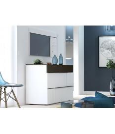 Commode design laquée blanche et grise 3 tiroirs