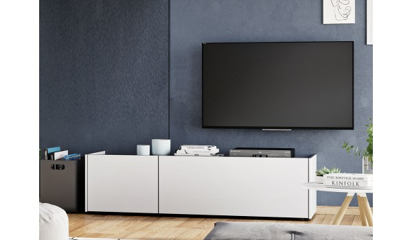 Meuble banc TV - blanc & gris