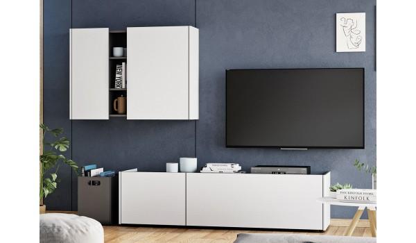Meuble tv bas et meuble mural blanc & gris