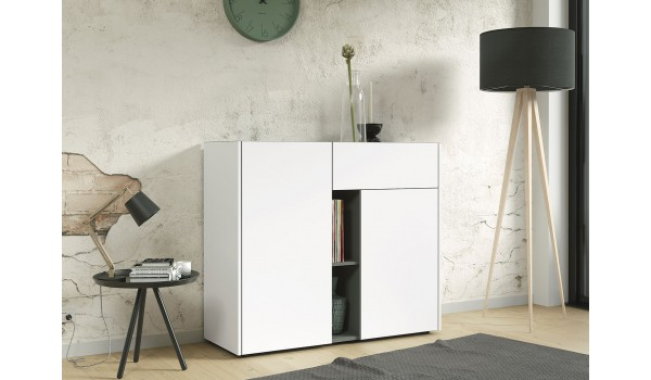 Commode 2 portes 1 tiroir 2 niches blanche & grise