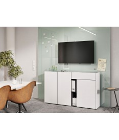Buffet 3 portes 1 tiroir 2 niches blanc & gris