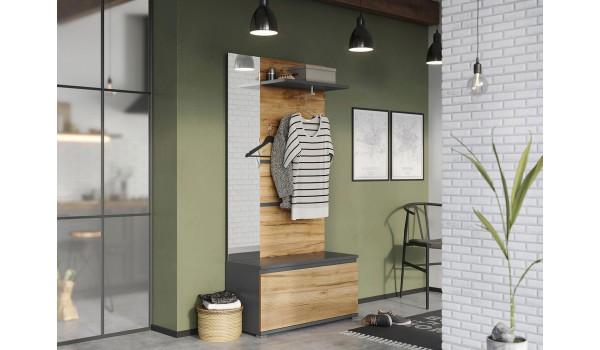 Ensemble d'entrée compact bois et gris