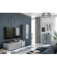 Ensemble salon tv design gris graphite et verre gris