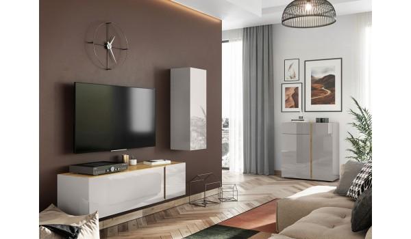 Ensemble salon tv design chêne / cachemire