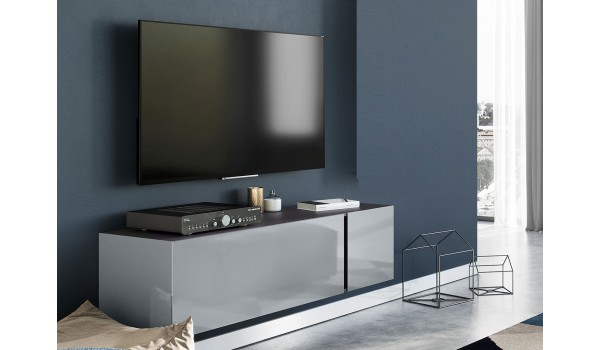 Meuble TV design gris graphite et verre gris