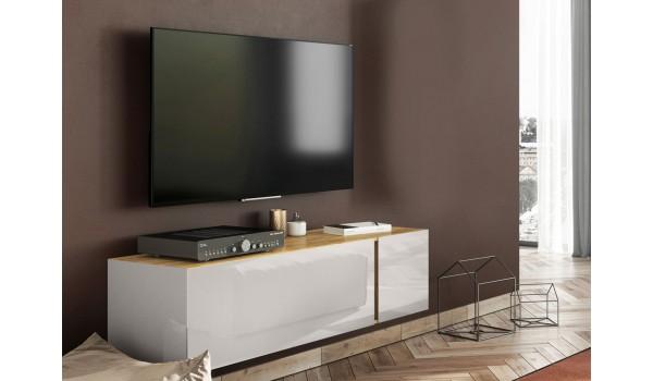 Meuble TV design chêne et verre cachemire