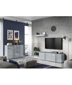 Meuble de salon et TV design gris graphite et verre gris