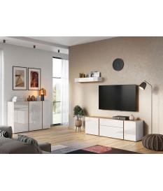 Meuble de salon et TV design chêne et verre blanc cachemire