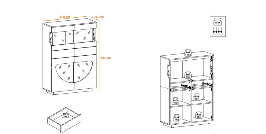 dimensions de la vitrine de salon en bois avec éclairage led