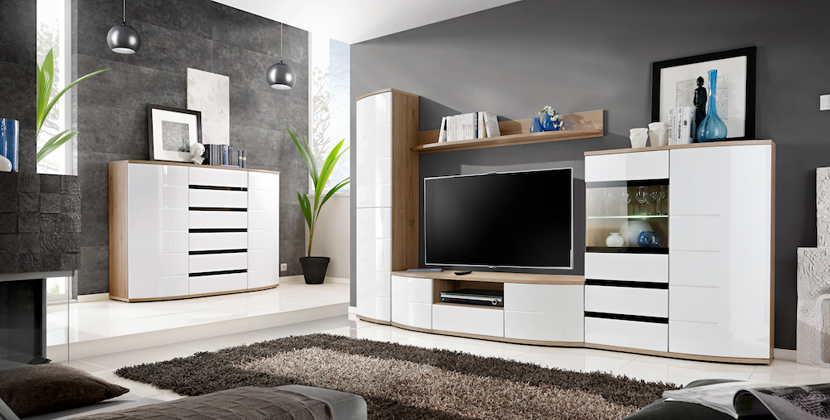 meuble tv mural blanc laqu et bois 3m novomeuble. Black Bedroom Furniture Sets. Home Design Ideas