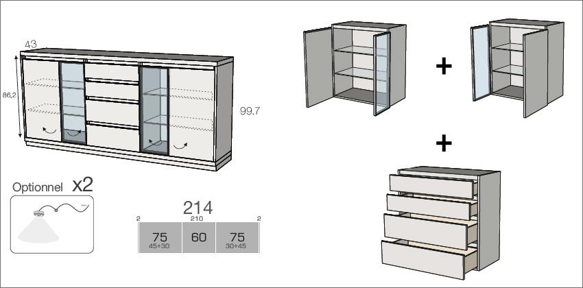dimensions du buffet contemporain en bois