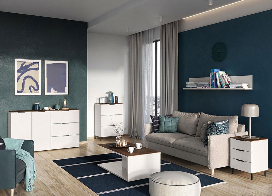 meuble de salon blanc et bois design