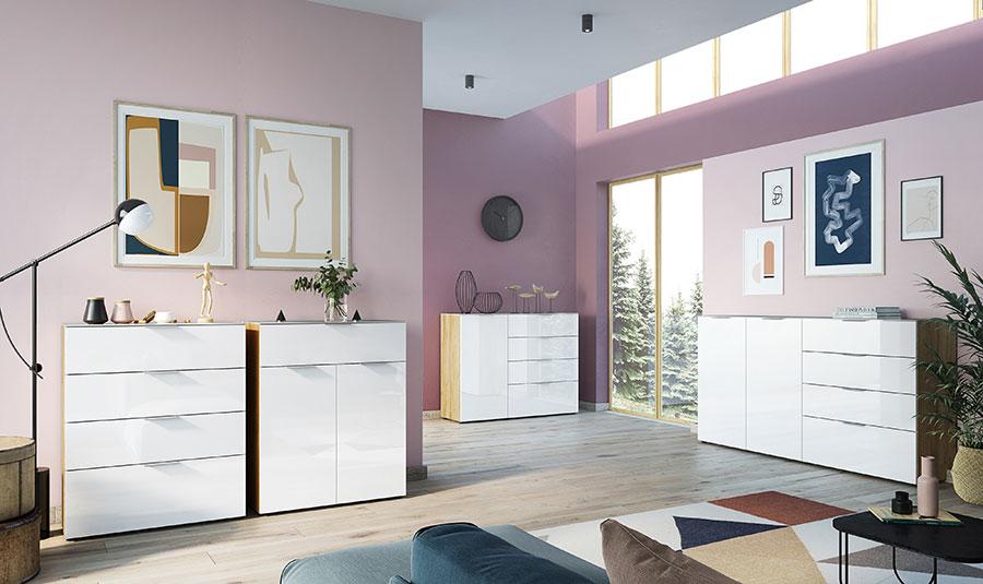 meuble de rangement bois et blanc design