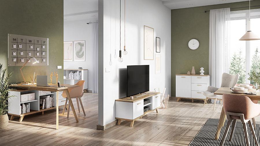 meuble tv bas scandinave blanc et bois