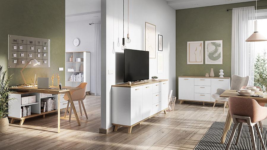 petit buffet design blanc et bois scandinave