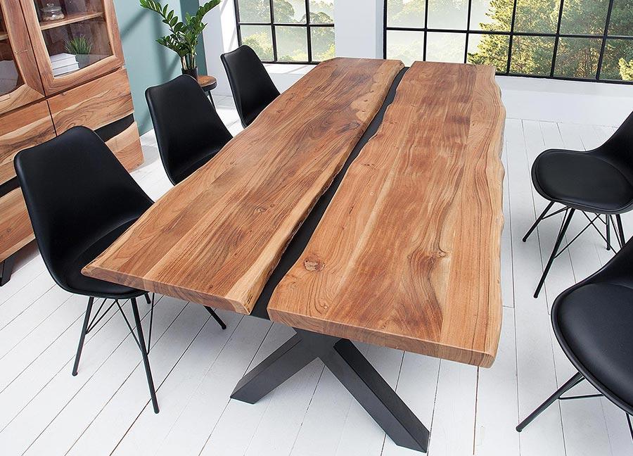 Chaise noire matelass e simili cuir noir pieds m tal - Table de salle a manger avec chaises ...