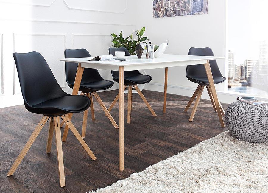 chaise noire et bois scandinave pas cher pour salle manger. Black Bedroom Furniture Sets. Home Design Ideas