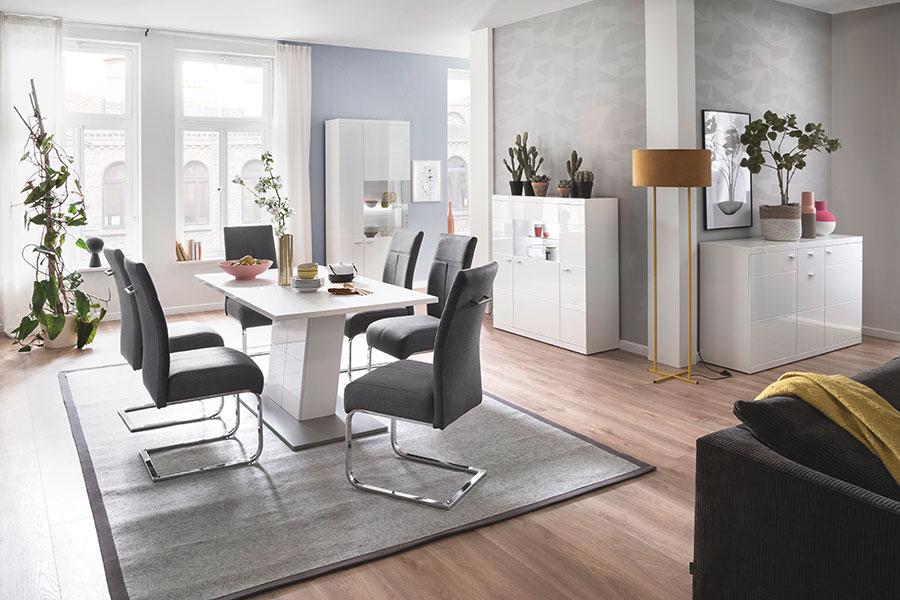 mobilier de salle à manger design blanc laqué