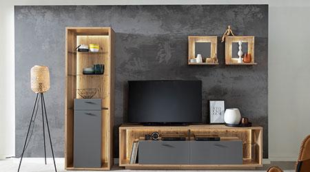 Meuble de salon design pas cher bois et gris pierre