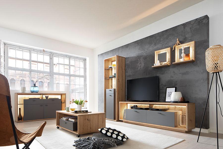 mobilier de salon design gris et bois